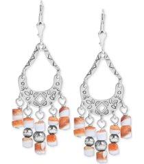 american west orange spiny chandelier drop earrings in sterling silver