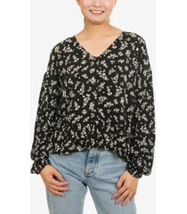 hippie rose juniors' button-front peplum blouse