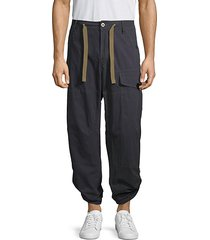 drawstring cotton-blend cargo pants