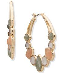 anne klein gold-tone medium crystal, stone & mother-of-pearl hoop earrings, 1.5""