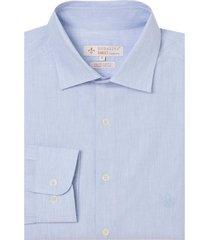 camisa dudalina manga longa fio tinto maquinetada masculina (azul claro, 6)