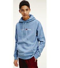 tommy hilfiger men's fleece logo hoodie vintage denim - xxl
