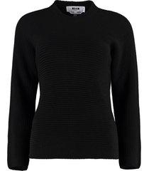 msgm ribbed crew-neck sweater