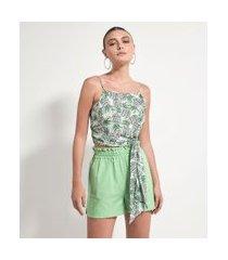 blusa regata estampa abacaxis do amor com amarração | a-collection | verde | p
