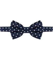 lady anne silk polka-dot bow tie - blue