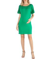 24seven comfort apparel loose fit dolman sleeve maternity dress with scoop neckline