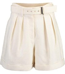 hi-rise linen pleated shorts