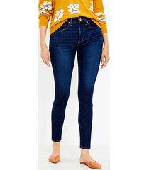 loft curvy high rise skinny jeans in classic dark indigo wash