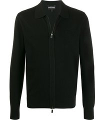 emporio armani fine knit zipped sweatshirt - black