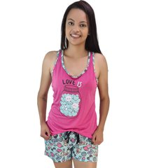 "pijama feminino """"love is"""" rosa pink shorts piscina"