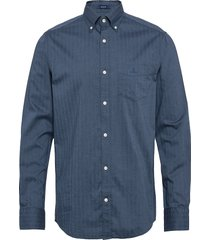 d1. herringb solid reg bd overhemd casual blauw gant