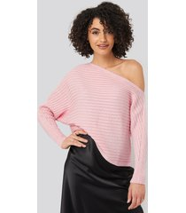 trendyol boat neck knitted sweater - pink