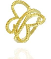 anel dona diva semi joias borboleta dourado