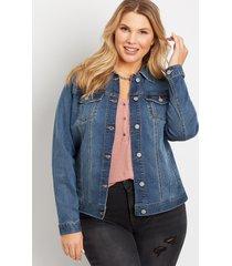 maurices plus size womens traditional dark wash blue denim jacket
