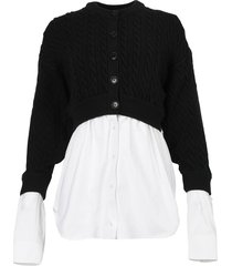cotton oxford and wool cable hybrid top