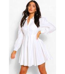geplooide katoenen blouse jurk met ballonmouwen, wit