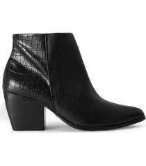 amaro feminino bota cano curto detalhe couro, preto