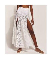 saia de renda feminina hype beachwear longa com fendas e forro off white