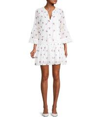 allison new york women's embroidered drop-waist mini dress - white - size xs