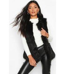faux fur bodywarmer, zwart