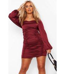 plus satijnen geplooide jurk met blouson mouwen, wine