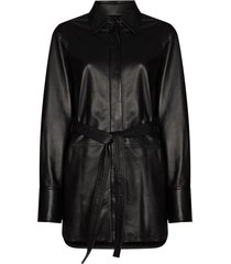 joseph jason belted leather shirt - black