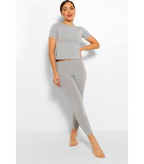 basic t-shirt & legging soft jersey pj set, grey marl