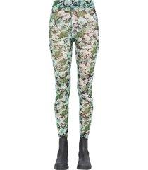 ganni floral print com mesh leggings