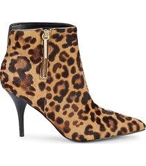 faye leopard-print cow hair booties