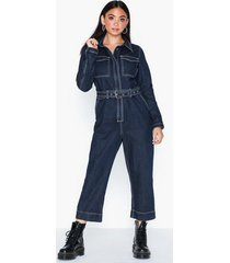 missguided contrast stitch denim jumpsuit jumpsuits