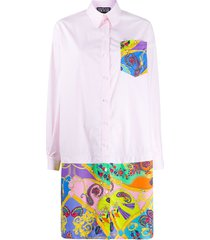 versace jeans couture paisley print shirt dress - pink