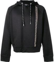 just cavalli studded stripe hoodie - black