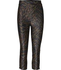 lurex jersey pantalon met rechte pijpen bruin ganni