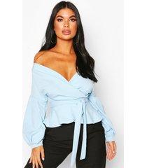 petite blouse met open schouders, lichtblauw