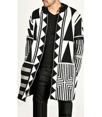 cardigan lavorato a maglia casual da uomo stile medio lungo patchwork bianco grigio nero