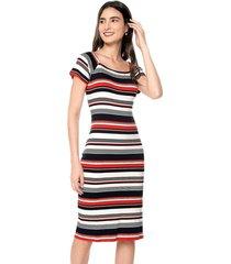 vestido casual manga corta estampado multicolor listrado horizontal realist