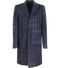 check patchwork overcoat