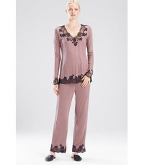 charlize v-neck pajamas set, women's, brown, size l, josie natori