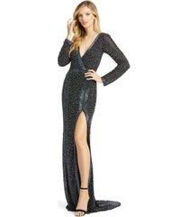mac duggal long-sleeve embellished gown