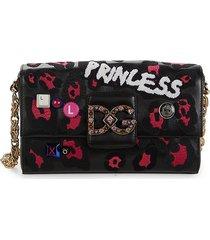 dolce & gabbana women's dg millennials patchwork leather crossbody bag - black