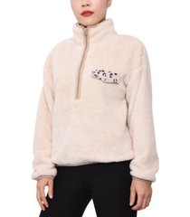 derek heart juniors' quarter-zip sherpa pullover sweatshirt