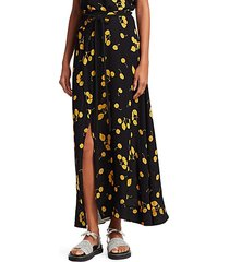 cherry print tie-waist side slit maxi skirt
