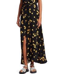 cherry print tie-waist side slit maxi skirt