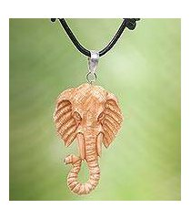 bone and leather pendant necklace, 'spirit of the elephant' (indonesia)