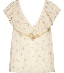 pleated georgette blouse mouwloos beige ganni