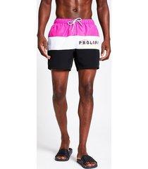 river island mens prolific pink slim colour block swim shorts