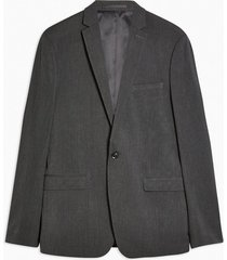 mens charcoal grey single breasted skinny fit suit blazer with notch lapels