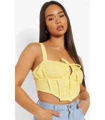 gingham korset stijl crop top, yellow