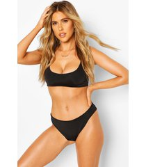 mix & match scoop crop bikini top, black