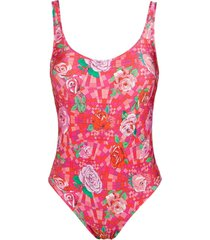 amir slama floral print swimsuit - pink